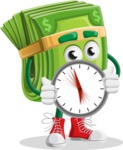 Dollar Bill Cartoon Money Vector Character - Holding clock