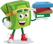Dollar Bill Cartoon Money Vector Character - Holding Education Books