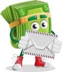 Dollar Bill Cartoon Money Vector Character - Holding Mail Envelope