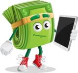 Dollar Bill Cartoon Money Vector Character - Holding Tablet