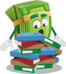 Dollar Bill Cartoon Money Vector Character - Learning with Books
