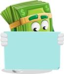 Dollar Bill Cartoon Money Vector Character - Looking At Blank Sign