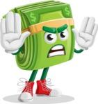 Dollar Bill Cartoon Money Vector Character - Making stop gesture
