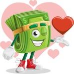 Dollar Bill Cartoon Money Vector Character - Money Love Illustration