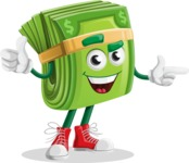 Dollar Bill Cartoon Money Vector Character - Pointing and Smiling