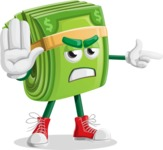 Dollar Bill Cartoon Money Vector Character - Pointing with a Finger