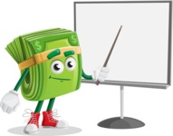 Dollar Bill Cartoon Money Vector Character - Pointing with a Pointer on Blank Presentation Board