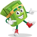 Dollar Bill Cartoon Money Vector Character - Pointing with Hands