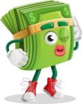Dollar Bill Cartoon Money Vector Character - Posing for a Selfie