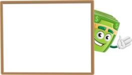 Dollar Bill Cartoon Money Vector Character - Presenting on Blank Whiteboard Template