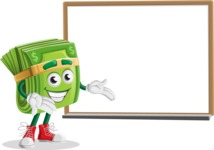Dollar Bill Cartoon Money Vector Character - Presenting on Whiteboard
