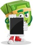 Dollar Bill Cartoon Money Vector Character - Presenting Tablet