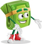 Dollar Bill Cartoon Money Vector Character - Presenting