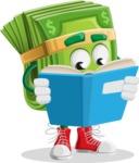 Dollar Bill Cartoon Money Vector Character - Reading a Book