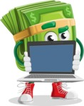 Dollar Bill Cartoon Money Vector Character - Showing a Blank Computer Screen
