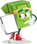 Dollar Bill Cartoon Money Vector Character - Showing a Notepad