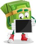 Dollar Bill Cartoon Money Vector Character - Showing Blank Tablet