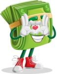 Dollar Bill Cartoon Money Vector Character - Showing Love with Heart
