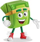 Dollar Bill Cartoon Money Vector Character - Showing with a Hand