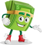 Dollar Bill Cartoon Money Vector Character - Showing with a Smile