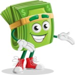 Dollar Bill Cartoon Money Vector Character - Showing with Both Hands
