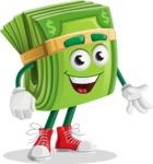 Dollar Bill Cartoon Money Vector Character - Smiling