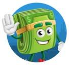 Dollar Bill Cartoon Money Vector Character - Sticker Template