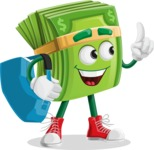 Dollar Bill Cartoon Money Vector Character - Traveling with Suitcase
