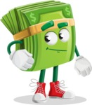 Dollar Bill Cartoon Money Vector Character - Waiting