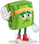 Dollar Bill Cartoon Money Vector Character - Waving for Goodbye with a Hand