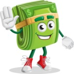 Dollar Bill Cartoon Money Vector Character - Waving for Hello with a Smiling Face