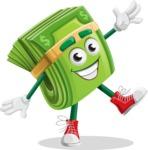 Dollar Bill Cartoon Money Vector Character - Waving with a Hand