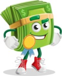 Dollar Bill Cartoon Money Vector Character - Winning a Prize