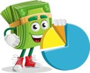 Dollar Bill Cartoon Money Vector Character - With a Business Pie Chart