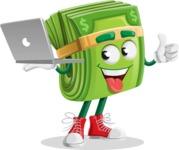 Dollar Bill Cartoon Money Vector Character - With a Laptop