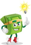 Dollar Bill Cartoon Money Vector Character - With a Light Bulb