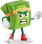 Dollar Bill Cartoon Money Vector Character - With Angry Face