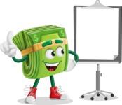 Dollar Bill Cartoon Money Vector Character - With Blank Presentation Board