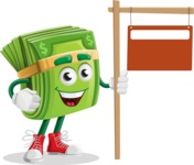 Dollar Bill Cartoon Money Vector Character - With Blank Real Estate Sign