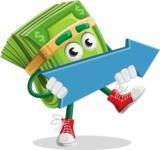 Dollar Bill Cartoon Money Vector Character - with Forward Arrow