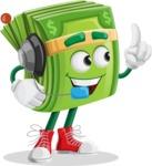 Dollar Bill Cartoon Money Vector Character - With Headphones