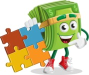 Dollar Bill Cartoon Money Vector Character - with Puzzle