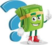 Dollar Bill Cartoon Money Vector Character - with Question mark