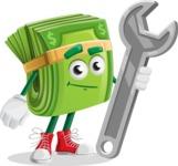 Dollar Bill Cartoon Money Vector Character - with Repairing tool - wrench