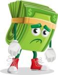 Dollar Bill Cartoon Money Vector Character - With Sad Face