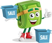 Dollar Bill Cartoon Money Vector Character - With Sale Boxes