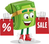 Dollar Bill Cartoon Money Vector Character - With Shopping Bags