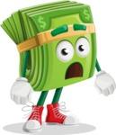 Dollar Bill Cartoon Money Vector Character - With Stunned Face