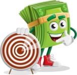 Dollar Bill Cartoon Money Vector Character - With Target
