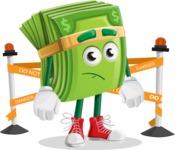 Dollar Bill Cartoon Money Vector Character - with Under Construction sign